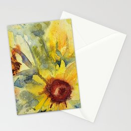 Watercolor Sunflower Bouquet Stationery Cards