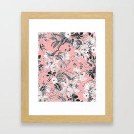 Black and White Floral on Light Pink Framed Art Print