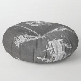Fishing Rod Patent - Fishing Art - Black Chalkboard Floor Pillow