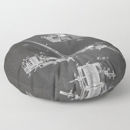 Fishing Rod Patent - Fishing Art - Black Chalkboard Floor Pillow