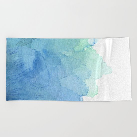 Abstract Watercolor Texture Blue Green Sea Sky Colors Beach Towel