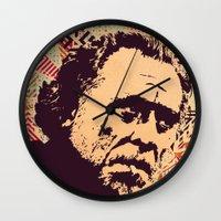 bukowski Wall Clocks featuring Bukowski by f_e_l_i_x_x