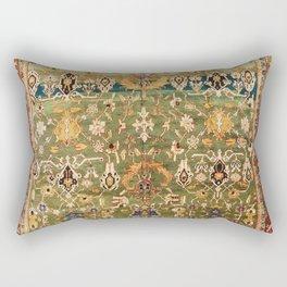 Antique Copper Green Abrashed Persian Rug Print Rectangular Pillow