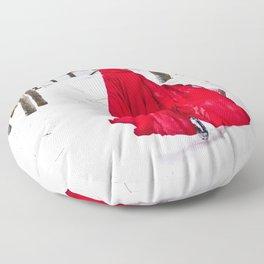 Little Red Riding Hood Runs Through The Woods In Winter Floor Pillow