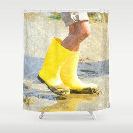 Fun In My Yellow Rain Boots Shower Curtain