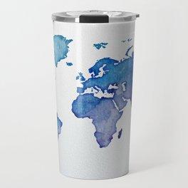 Blue World Map 02 Travel Mug