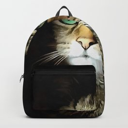 Tabby Cat With Green Eyes Isolated On Black Backpack