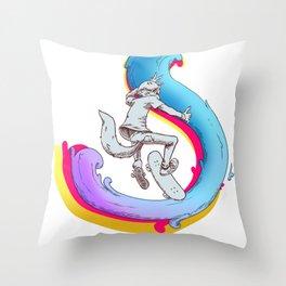 Foxy Skater Throw Pillow