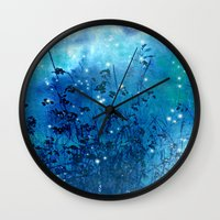 fireflies Wall Clocks featuring Fireflies by Deborah Lehman