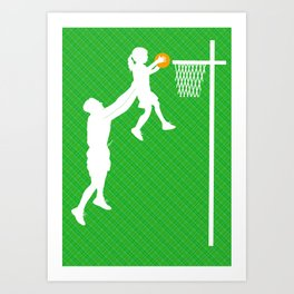 Father and daughter playing basketball Art Print