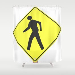 """""""pedestrian ahead"""" - 3d illustration of yellow roadsign isolated on white background Shower Curtain"""