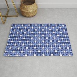 Blue Block Pattern Rug