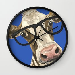 Cute Cow With Glasses, Blue Glasses Cow Wall Clock