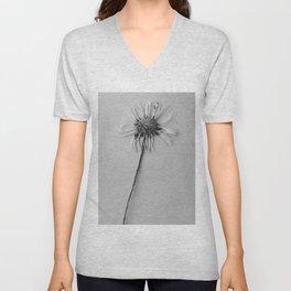 black and white daisy Unisex V-Neck