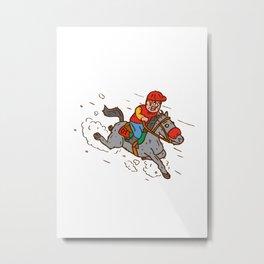 Jockey Horse Racing Cartoon Metal Print
