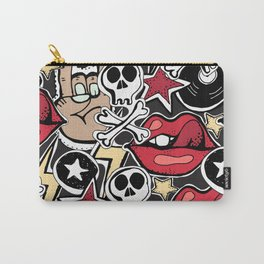 Seamles pattern. Crazy punk rock abstract background. Skulls, guitars, rock symbols. Carry-All Pouch