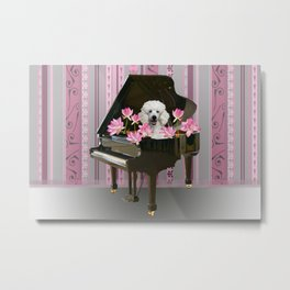 Piano with Poodle and Lotus Flower Blossoms Metal Print