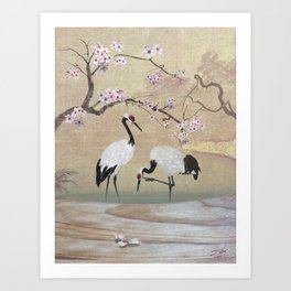 Cranes Under Cherry Tree Art Print