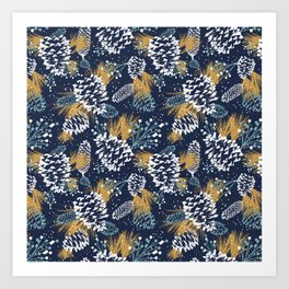 Festive Forest - Navy Art Print