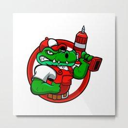 Cartoon angry crocodile Metal Print