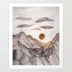 Lines in the mountains Art Print
