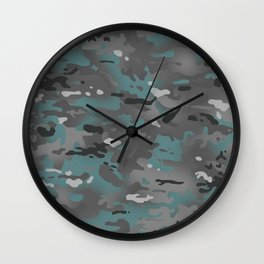 Camouflage: Arctic Blue and Grey Wall Clock