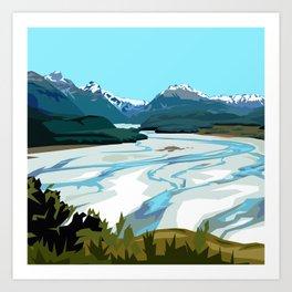 Dart River Valley, Glenorchy Art Print