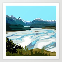 Dart River Valley, Glenorchy Art Print