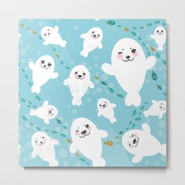 Funny albino white fur seal pups, cute kawaii seals Metal Print