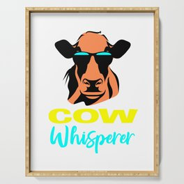 cow whisperer, cute cow, cow lovers, cow gifts, farm animal Serving Tray