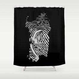 Sardinian fingerprint (black) Shower Curtain