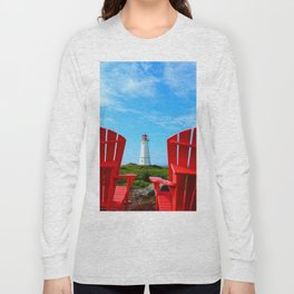 Lighthouse and chairs in Red White and Blue Long Sleeve T-shirt