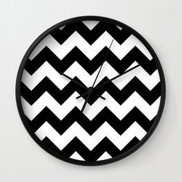 Zigzag Pattern, Chevron Pattern - White Black Wall Clock