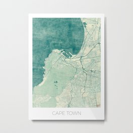 Cape Town Map Blue Vintage Metal Print