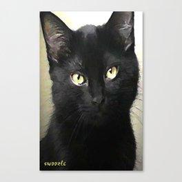 Swoozle's Black Cat in Repose Canvas Print