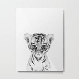 B&W Tiger Metal Print