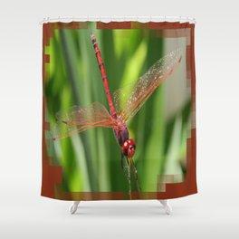 Red Skimmer or Firecracker Dragonfly Closeup Shower Curtain