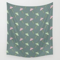 cocktail Wall Tapestries featuring Cocktail Umbrella Pattern by Mrs. Ciccoricco