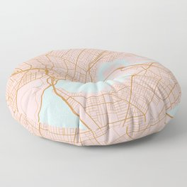 Pink and gold Perth map, Australia Floor Pillow