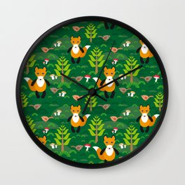 Fox and birds in the forest Wall Clock