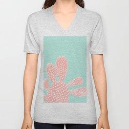 Apricot Blush Cactus on Mint Summer Dream #1 #plant #decor #art #society6 Unisex V-Neck