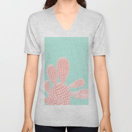 Apricot Blush Cactus on Mint Summer Dream #1 #plant #decor #art #society6 Unisex V-Neck