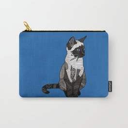 Siamese Cat Zentangle in Blue Carry-All Pouch