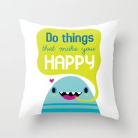 be happy Throw Pillows featuring Happy by Maria Jose Da Luz