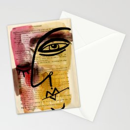 "Funky Face Abstract, ""I See 38"" by Kathy morton Stanion Stationery Cards"