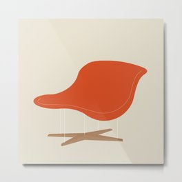 Orange La Chaise Chair by Charles & Ray Eames Metal Print