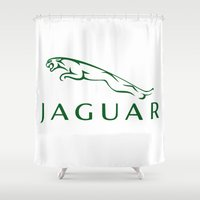 jaguar Shower Curtains featuring Jaguar by kartalpaf