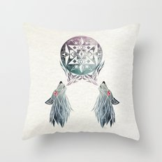 wolf moon Throw Pillow