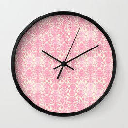 Salmon Pink Damask Wall Clock