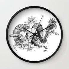 The ramskull and bird Wall Clock